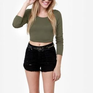 American Apparel Olive Green Crop Top